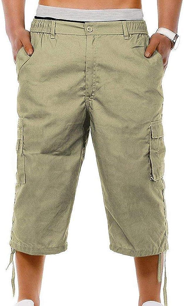 xzbailisha Men's Cotton Cargo Shorts 3/4 Relaxed Fit Capri Pants Cargo Pants Multi-Pocket Outdoor Cotton