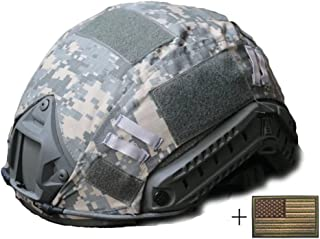 OSdream Tactical Military Helmet Covers Camouflage Cover Airsoft Paintball Shooting Helmet Accessory Only A Cover and US Flag Patch Without Helmet
