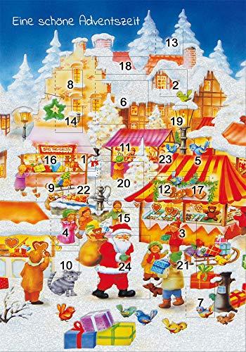 Karte Weihnachten | Karte Adventskalender | mit Glitzer | nostalgische Weihnachtskarten Set mit Umschlag | DIN B6