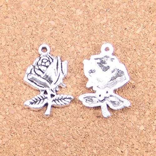 WANM Colgante 14 Uds Encantos Flor Rosa 25X17Mm Colgantes Antiguos Vintage Plata Tibetana Joyería DIY para Collar Pulsera