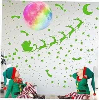 PiniceCore Autoadesivo di Natale Arcobaleno Luminoso Stars Cervi Babbo Adesivi Adesivi Super Bright Fluorescente Room Deco...