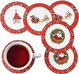 VEWEET Serie SANTACLAUS Servizio Piatti 12 Persone Natalizio Piatti Bianchi e Rossi in Porcellana Set Piatti 36 Pezzi con 12 Piatti Piani, 12 Piatti Fondi, 12 Piatti da Dessert Babbo di Natale