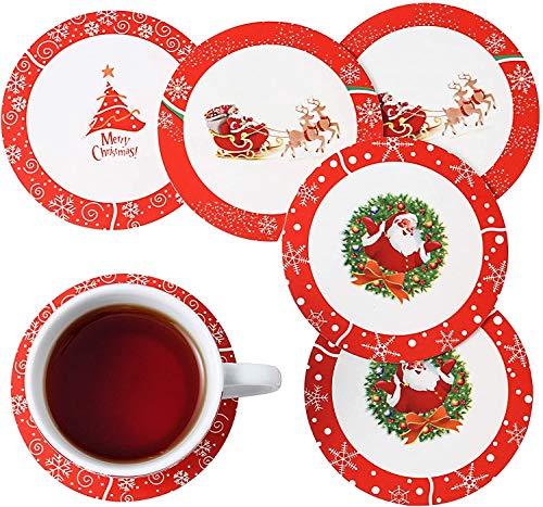 Veweet Sottobicchieri Antiscivolo in Americana PVC per Bevande Bicchieri Tazze Protezione per Qualsiasi Tipo di Tavolo Resistente al Calore Decorazione Natale