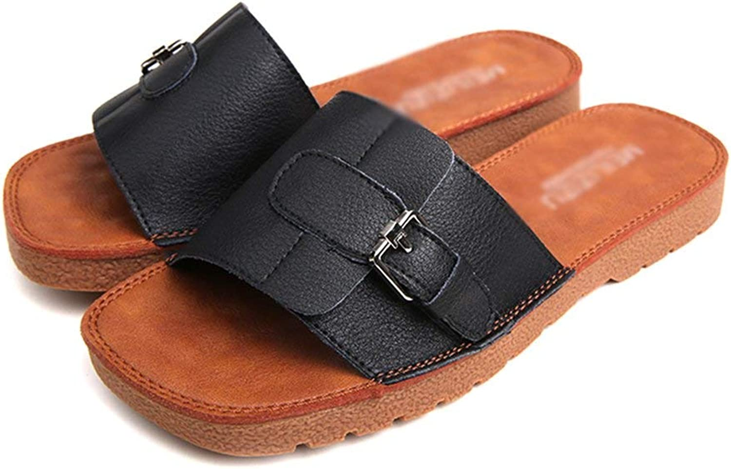 Comfortable and beautiful ladies sandals Summer Casual Leather Slippers Simple and Versatile Half Drag Flat shoes