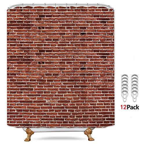 Riyidecor Red Wall Brick Shower Curtain Set 72x84 inch Extra Long Metal Hooks 12 Pack Stylish Living Rustic Decor Fabric Bathroom Set Polyester Waterproof Fabric Bathroom