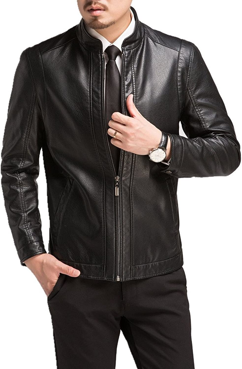 MOGU Mens Vintage Stand Collar Leather Jacket
