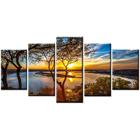 Amazon Com Beautiful 5 Pieces Canvas Wall Art Sunset Lake Tree Landscape Canvas Paintings Posters Print On Canvas Stretched And Framed Ready To Hang Posters Prints