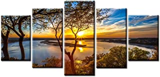 Beautiful 5 Pieces Wall Art Sunset Lake tree Landscape Canvas Paintings Posters Print on canvas Stretched and Framed Ready to Hang