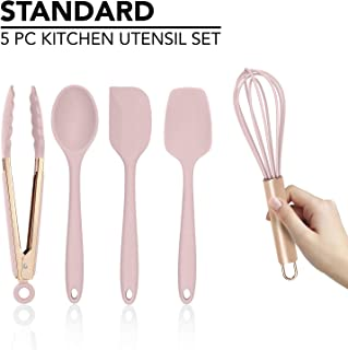 Cook with Color Silicone Cooking Utensils, 5 Pc Kitchen Utensil Set, Easy to Clean Silicone Kitchen Utensils, Cooking Utensils for Nonstick Cookware, Kitchen Gadgets Set - Pink and Copper