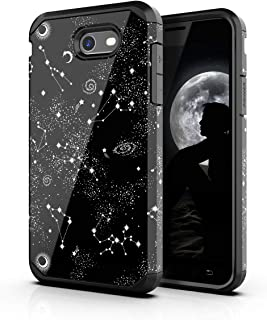 PBRO Samsung Galaxy J3 Case,Cute Universe Constellation Case Dual Layer Shockproof Cover for Galaxy J3 2017/J3 Emerge/J3 Prime/J3 Mission/J3 Eclipse/J3 Luna Pro/Express Prime 2/Amp Prime 2/Sol-Black