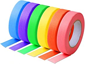 """Anleo Colored Craft Masking Tape Multi-Colored Set - 6 Packs (1""""×60 Yards/roll, Total 360 Yards), Writable Easy Tear No Residue, Perfect Tapes for Coding, Labeling, Fun DIY Art Supplies"""