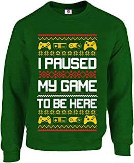 Graphic Impact Inspired Retro Gamers I Paused My Game to Be Here for Christmas Gamer Sarcastic Party Xmas Jumper Sweater