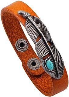METTU Vintage Feather Turquoise Leather Bracelet Bangle
