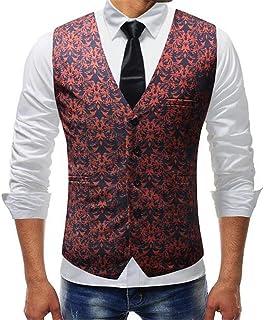MU2M Men Regular Fit Wedding Single Breasted Formal Dress Suit Waistcoat