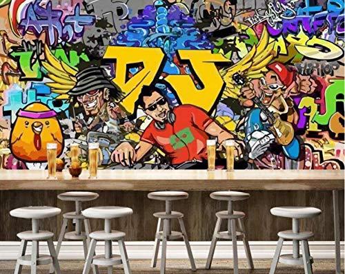 Shopyang 3D DJ Music Worker Graffiti Art Mural Living Room Bedroom Background Wallpaper Wall Decoration