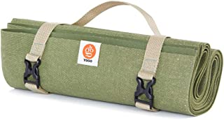 YOGO Ultralight Long Travel Yoga Mat - with Attached Carrying Strap - Foldable Lightweight Thin Yoga Mat – Eco-Friendly Natural Tree Rubber With Extra Grip – Non Slip, Washable – Perfect for On the Go