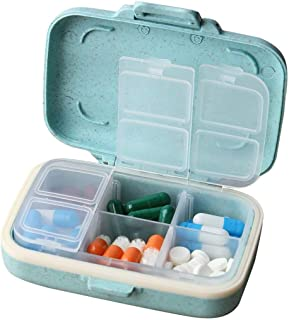 MOST ORIGINAL DESIGNM Small Pill Organizer 6 Day Portable Pill Case Cute for Purse BPA Free Food Grade Hard Plastic Material 6 Compartment Light Blue (Light Blue)