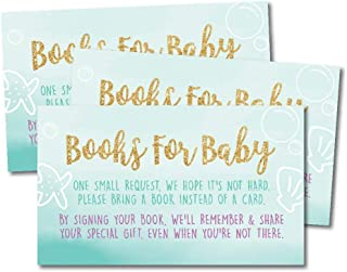 25 Mermaid Books for Baby Request Insert Card for Girl Gold Baby Shower Invitations or invites, Under The Sea Nautical Cute Bring A Book Instead of A Card Theme for Gender Party Story Games