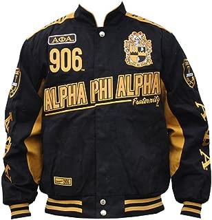Alpha Phi Alpha Fraternity Mens Racing Twill Jacket Black