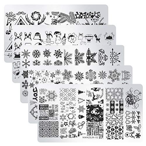 SUMAJU 5PCS Christmas Nail Plates, Christmas Image Plates Nail Polish...