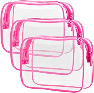 Clear Makeup Bag with Zipper, Packism 3 Pack Beauty Clear Cosmetic Bag TSA Approved Toiletry Bag, Travel Clear Toiletry Bag, Quart Size Bag Carry on Airport Airline Compliant Bag, Rose Red