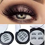 Valentines Day Gifts for Her Magnetic Eyelashes,3D Natural Look, Resuable, Ultra Light-Weight Double Magnet False Eyelashes 1 Pair of 4 Pieces 0.2mm Ultra Thin Fake Mink Eyelashes