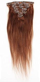 EOZY クリップ付きヘアエクステンション レディースガールズへ おしゃれウィッグ人間の髪で制作ロングストレートフルウィッグ 簡単に装着 エクステカツラ 22インチ Dark Brown