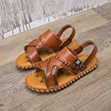 B/N Foams Sole Pool Shoes,Casual Men's Shoes Summer New Leather Sandals-Brown_40