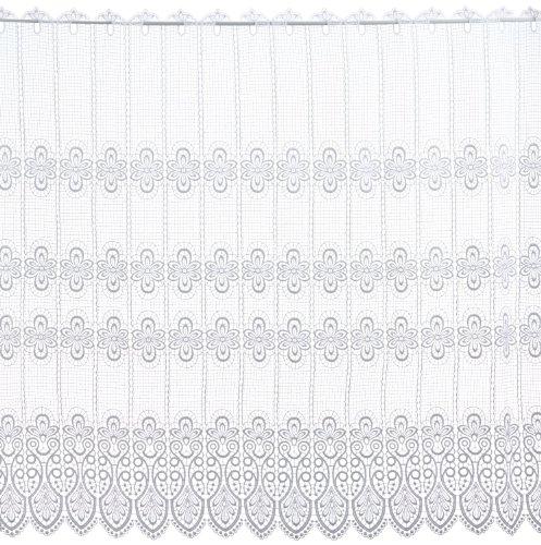 Plauener Spitze by Modespitze, Store Bistro Gardine Scheibengardine mit Stangendurchzug, hochwertige Stickerei, Höhe 112 cm, Breite 112 cm, Weiß