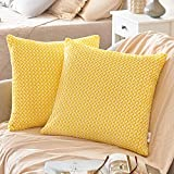 PAULEON Throw Pillow Covers 18x18 – Yellow and White, Set of 2 – Fluffy Fiber - Сhevron Pattern - Decorative Cushion Cases – Perfect for Couch, Sofa, Bed, Accent Pillows