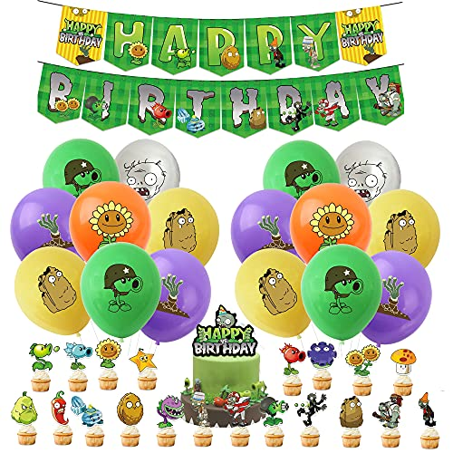 Palloncini Festa Compleanno Plants vs Zombies Palloncino Striscioni Buon Compleanno Plants vs Zombies Torta Decorazione Festa Compleanno di Plants vs Zombies