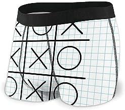 Men 's Boxer Briefs Motivo de Tic TAC Toe sobre Fondo de Cuaderno de Rayas cuadradas Diseño artístico de la Escuela