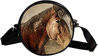 Coosun Umhängetasche mit Pferdekopf, Vintage-Stil, Tiermotiv, rund, Schultertasche für Kinder und Damen
