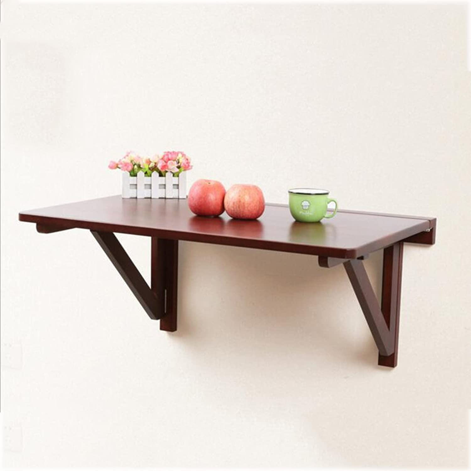 MEIDUO Drop-Leaf Table Solid Wood Folding Table Wall Hanging Table Multiple Sizes (color   Wood red, Size   6040cm)