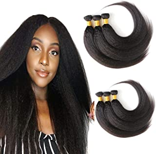 Brazilian Hair Bundles Kinky Straight Wave 3 Bundles 14 16 18 Inch Remy Unprocessed Virgin Hair Weave Real Human Hair Extensions Double Weft Sew In Hair Extensions 1B