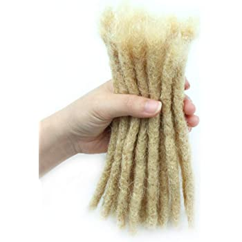 100% Human Hair Dreadlock Extensions Blonde 20 Locks,Dsoar Handmade Crochet Loc Extensions Medium Size (Width 0.8 cm,8 inch,613# Blonde Color)