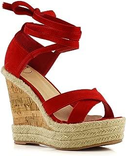 Womens Tie Up Sandals Ladies Platform Wedge Summer Espadrilles Shoes