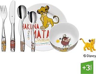 WMF Disney El Rey León - Vajilla para niños 6 piezas, incluye plato, cuenco y cubertería (tenedor, cuchillo de mesa, cuchara y cuchara pequeña) Kids infantil