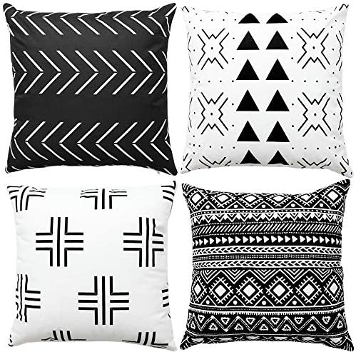 WLNUI Set of 4 Black Boho Modern Pillow Covers 18x18 Inch Square Farmhouse Throw Pillow Covers product image