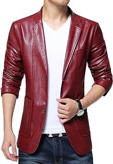 chouyatou Men's Stylish 2 Button Faux Leather Suit Blazer Jacket Sport Coat