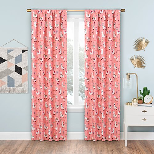 """ECLIPSE Blackout Curtains for Bedroom - Llama Drama Living Room, 42"""" x 84"""", Coral"""