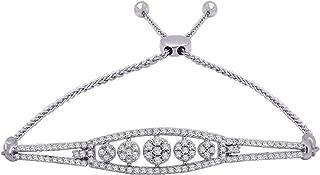 10K Gold Round & Baguette Shape Diamond Cluster Bolo Bracelet For Women (0.77 Cttw, J, I2)