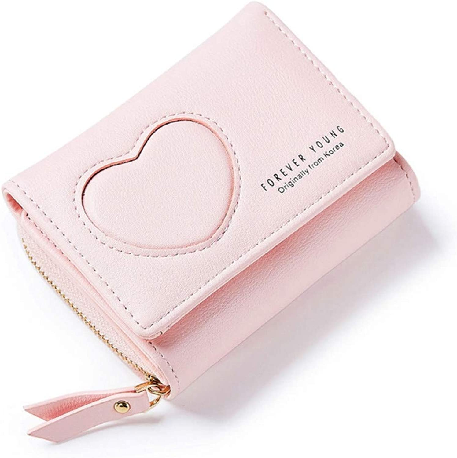 KHGUDS Brand Korean Style Fresh Heart Patter Women Wallets Soft Leather Girls Small Purse Female Wallet with Coin Card Holder