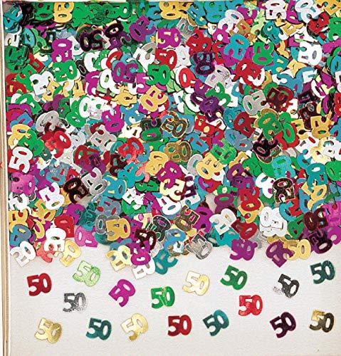 amscan confettis Multicolore 50 Ans métallique pour Fete Anniversaire