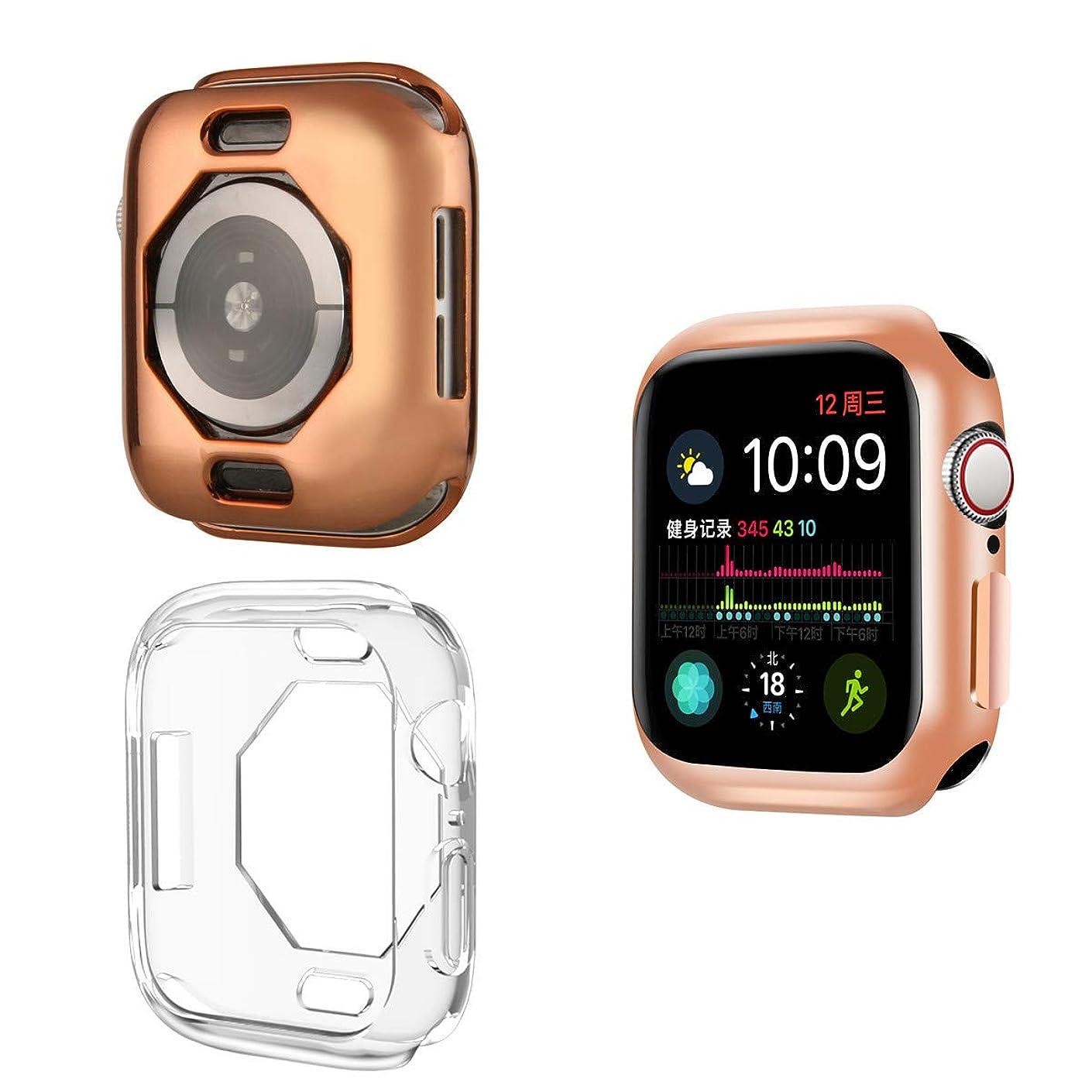 コックフィード抑圧[ 2枚入り ] Compatible With Apple Watch Series 4 40mm / 44mm TPU Case めっき色ケース, [ 落 冲 撃 ] ] [ TPU ケース ] ラギッド?アーマー アップルウォッチ シリー ズーズ 4 対応 (Series4 44mm, ローズゴールド+透明な色)