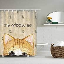 DISNEY COLLECTION Bathroom 72X72 Inch Shower Curtain Orange Tabby Kitten Waterproof Heavy Duty Cartoon Cute Home Kitchen Dormitory Hotel