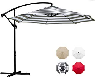 Sunnyglade 10' Outdoor Adjustable Offset Cantilever Hanging Patio Umbrella (Black and White)