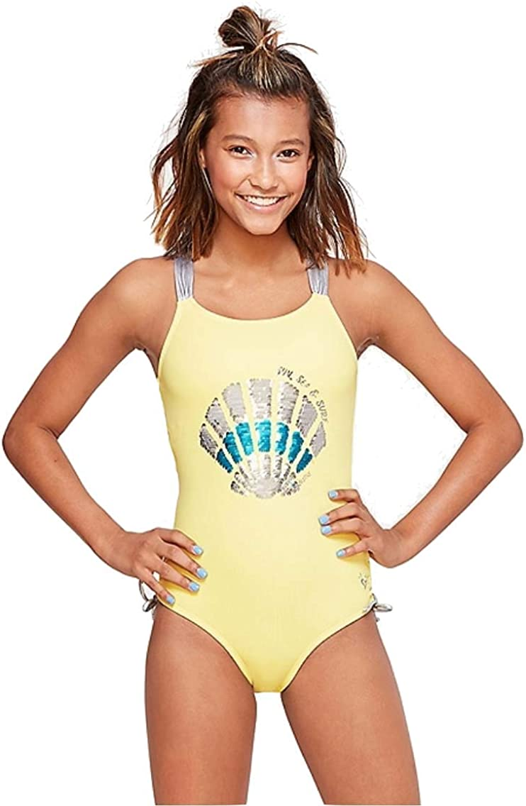 Justice Seashell Flip Sequin One Piece Yellow/Charcoal Heather