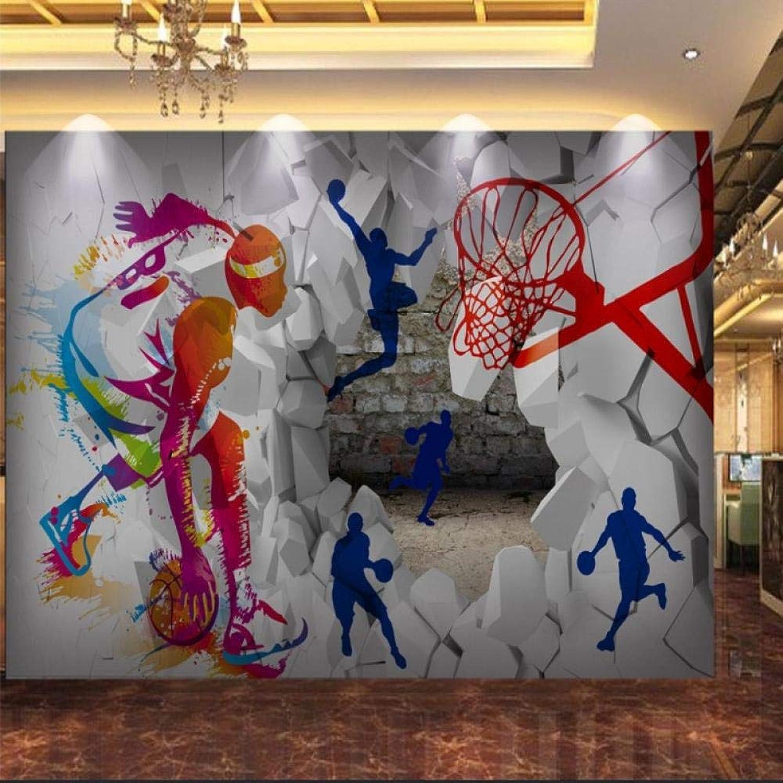 Papel tapiz fotográfico personalizado Fondo de baloncesto pintado a mano en 3D Patio de la parojo Gimnasio Equipamiento deportivo Tienda Corrojoor Fondo de pantalla200cmx345cm