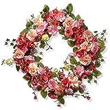 National Tree Company Door Wreath 32 Inch Spring Front Door Flower Wreath with Red, Pink and Cream Roses for Indoor & Outdoor